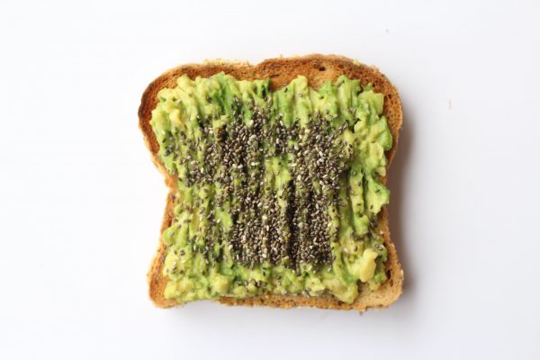 LightWorkers plant-based breakfast avocado toast with chia seeds