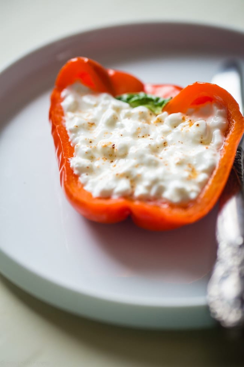 LightWorkers pepper snacks Savory Cottage Cheese Stuffed Pepper.