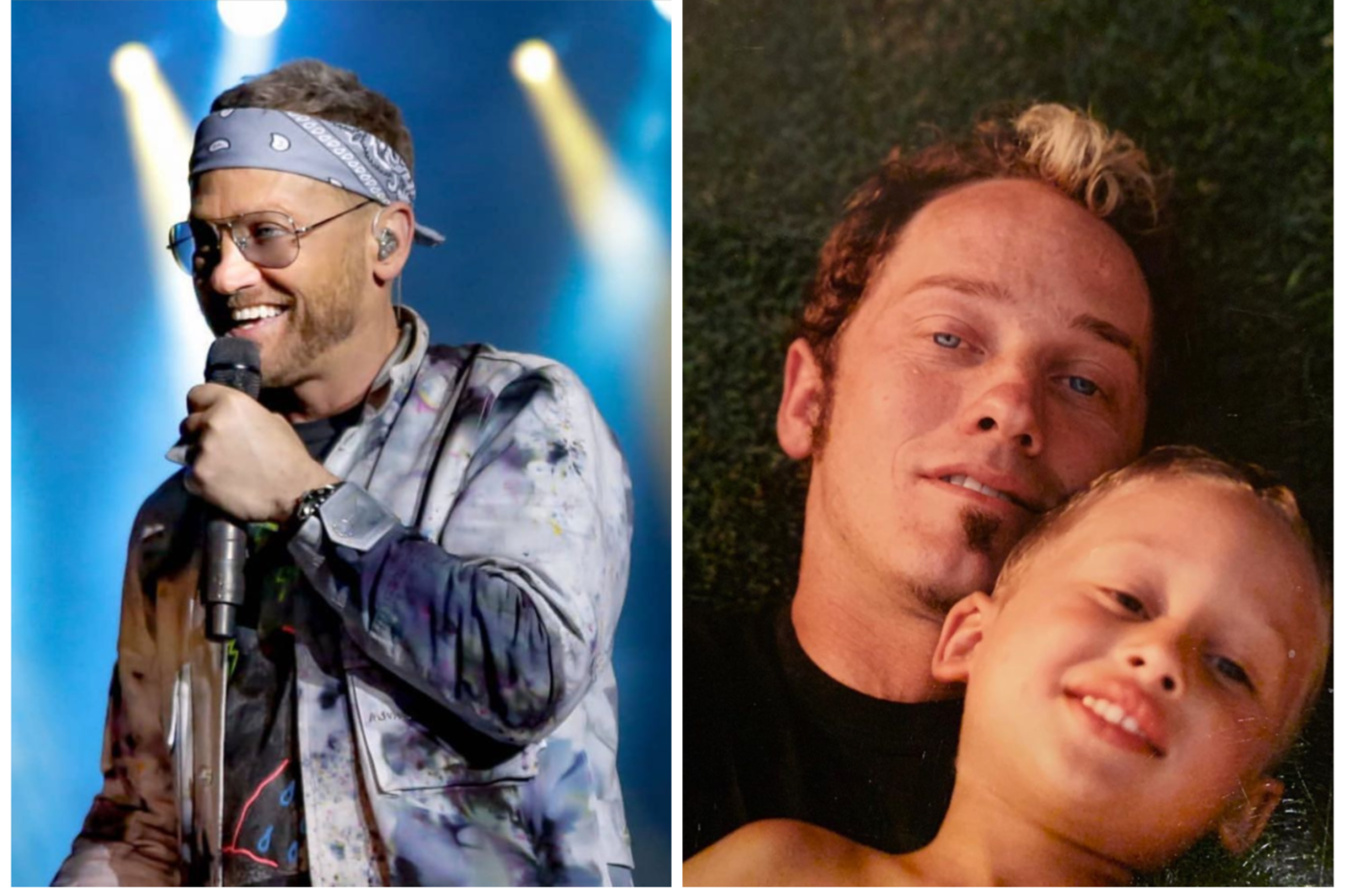 TobyMac in concert/TobyMac holding his son Truett around age 7