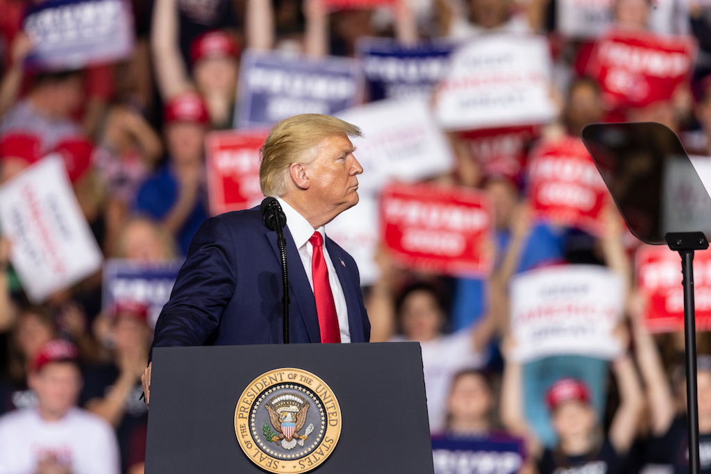 President Donald Trump speaks during campaign rally