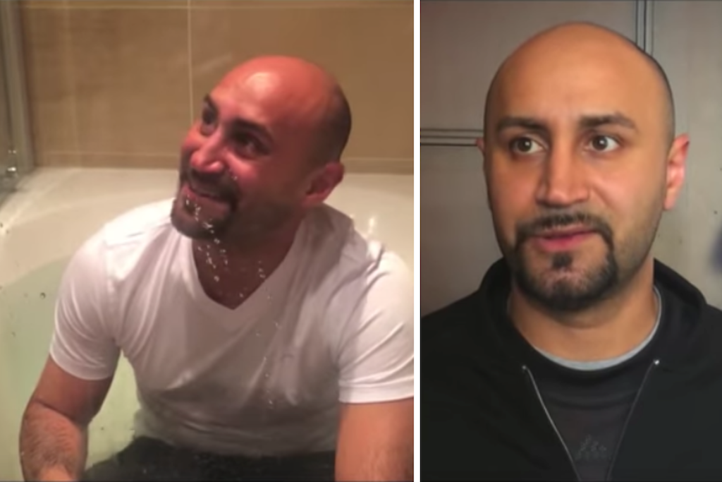 Muslim man getting baptized/profile image of muslim man during interview