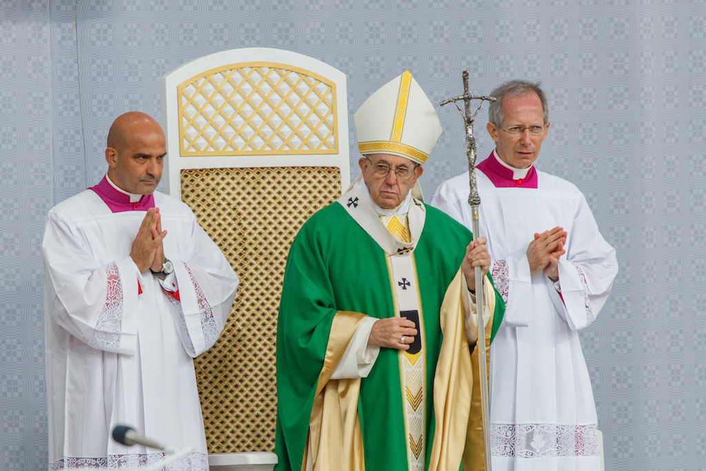 Pope Franciscus during Holy mass.