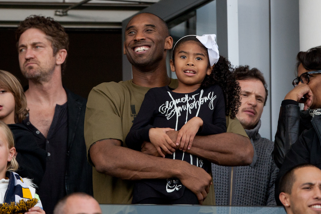 Kobe Bryant and his daughter at the 2012 MLS Cup Final at the Home Depot Center on December 1, 2012 in Carson, California