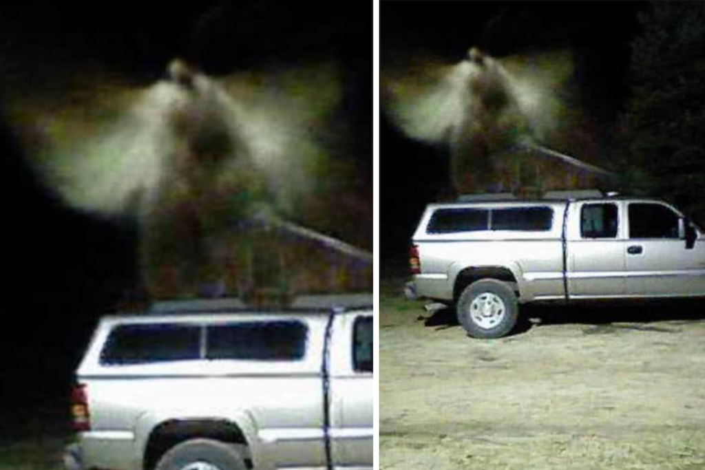 Angel captured over the truck
