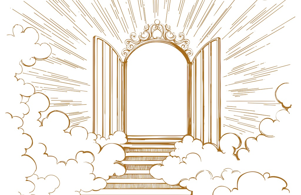 Illustration of the heavenly pearly gates