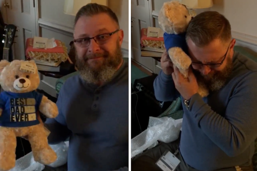Side by side images of John holding the Build-A-Bear and listening to the heartbeat