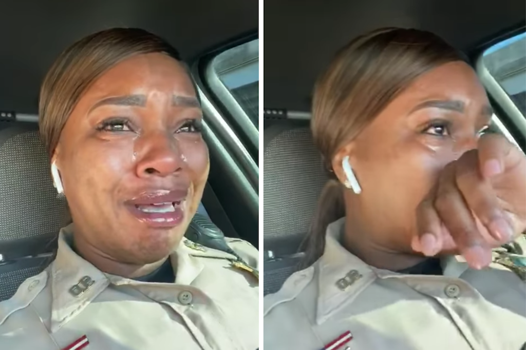 Lewis Monique in her car crying while telling the testimony