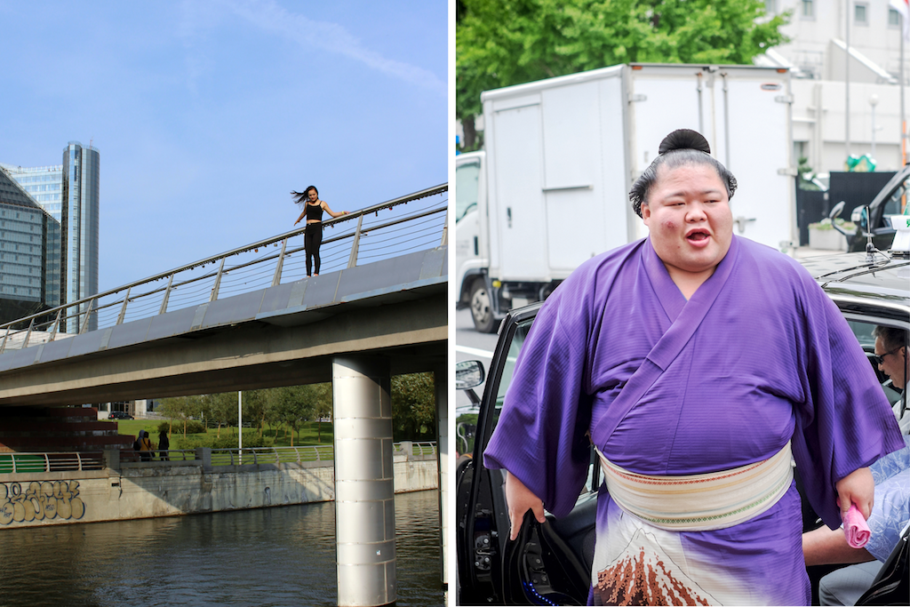 Girl getting ready to jump from bridge next to image of sumo wrestler getting out of a car